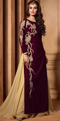 Dynamic Purple Velvet Straight Salwar Suit With Plazzo Pant And Chiffon Dupatta.