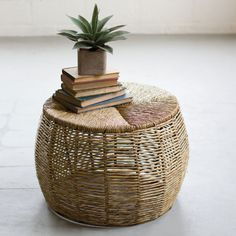 Kalalou Woven Rush And Recycled Iron Coffee Table Twig Furniture, Find Furniture, Modern Furniture, Rattan Side Table, Ottoman Table, Side Tables, Iron Coffee Table, Iron Table, Coffee Tables