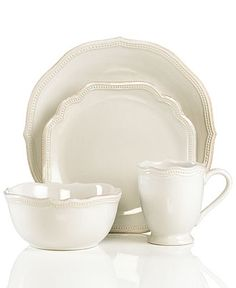 Lenox Dinnerware, French Perle Bead White 4-Piece Place Setting - Casual Dinnerware - Dining & Entertaining - Macy's Bridal and Wedding Regi...
