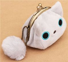 grey mini Kutusita Nyanko cat plush pouch wallet - Wallets - Accessories - kawaii shop modeS4u