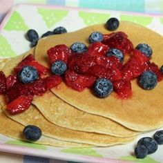 "Gluten Free Protein Pancakes | ""Quick and easy recipe, but gives you a healthy and simple way to up your protein intake. It is great topped with berries."""