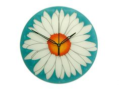 Teal and White Modern Clock, White Flower Wall Clock, Daisy Wall Decor, Floral Home Decor Silver Wall Decor, Blue Wall Decor, Handmade Clocks, Unique Clocks, Clock Decor, Wall Clocks, Clock For Kids, Modern Clock, Hand Painted Walls