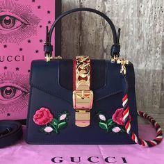Gucci Sylvie Top Handle Mini Bag Authentic Off Gucci Handbags, Luxury Handbags, Black Handbags, Leather Handbags, Designer Handbags, Gucci Bags Outlet, Designer Bags For Less, Gucci Sylvie, Brighton Handbags