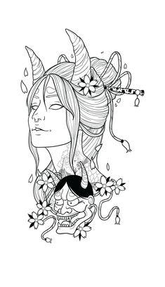 Japanese Drawings, Japanese Tattoo Art, Japanese Tattoo Designs, Japanese Art, Dark Art Drawings, Tattoo Design Drawings, Art Drawings Sketches, Tattoo Sketches, Sketch Drawing