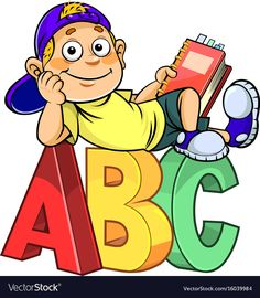 Illustration of Cartoon boy holding a book and sitting on ABC alphabet letters. vector art, clipart and stock vectors.