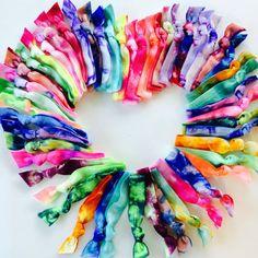 50 Tie Dye Hair Ties Ponytail Holders by Elastic Hair Bandz Bleach Tie Dye, Tye Dye, Tie Dye Hair, Dyed Hair, Mohawk Hairstyles, Headband Hairstyles, Tie Dye Colors, Velvet Scrunchie, Mermaid Makeup