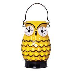 Luminária Coruja em Cerâmica. Acessório decorativo nas cores preto e amarelo que imita uma coruja.