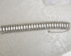 Vintage Clear Chatons Emerald Cut Rhinestones Hollywood Glam Bracelet Designer…