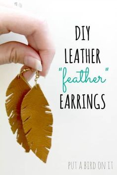 Super cute DIY Leather Feather Earrings!