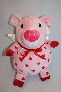 "Hallmark Pink Pig Plush Red Hearts Feet Bow White Wings Soft 7"" Stuffed Animal"