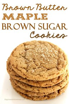 """Brown Butter Maple Brown Sugar Cookies - layer these with pumpkin ice cream for a """"deconstructed pumpkin pie"""" dessert! Brown Butter Cookies, Maple Cookies, Sugar Cookies Recipe, Yummy Cookies, Cookies With Brown Sugar, Brown Sugar Cookie Recipe, Cookie Butter, Cookie Pie, Butter Pie"""