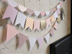 Blush and gold baby shower decor.   Custom paper garlands made to order. Perfect for birthday parties, showers, weddings, special occasions, and room décor. Quality cardstock in your choice of colours, patterns, shapes and sizes. Paper Bunting, Paper Garlands, Bunting Garland, Gold Baby Showers, Blush And Gold, Childrens Party, Baby Shower Decorations, Card Stock, Special Occasion