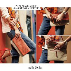 New Wave Meet The Waverly! This versatile crossbody bag with fresh orange perf converts from full length crossbody, to a fold over crossbody, to a fold over clutch. | Stella & Dot by Marlene