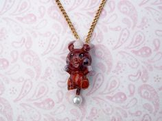 Cute Chocolate Minun Pokemon Necklace Rainbow by RainbowCastle, $18.99