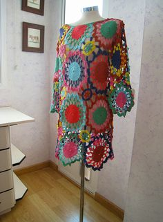 Exclusive crochet dress - color splash - made to order