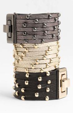 Cara Accessories Sliced Leather Studded Bracelets