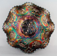 The color and design is simply breathtaking! By Fenton Carnival Glass. I own 2 of these, they are beautiful. Fenton Glassware, Antique Glassware, Cut Glass, Glass Art, Blue Carnival Glass, Rainbow Glass, Vintage Carnival, Vintage Bottles, Glass Ceramic