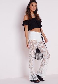 Lace Skinny Flare Trousers White - Flare - Lace - Trousers - Missguided
