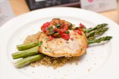Spicy Cumin Chicken with Strawberry Coulis, Quinoa and Grilled Asparagus at UMass Amherst