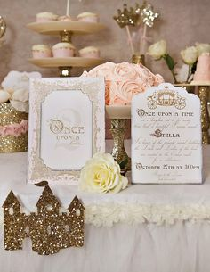 Gold & Sparkly Fairytale Princess Party. THis is super fancy, but I could see a simpler version with all of the glitter