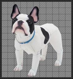 Animal Paper Model - French Bulldog Free Papercraft Download