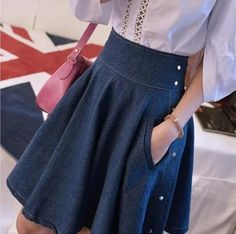 Online Shop 2015 Boutique denim bust skirt puff sheds expansion bottom high waist empire slim short pleated jean skirt feminine preppy style Work Fashion, Denim Fashion, Modest Fashion, Fashion Dresses, Preppy Mode, Preppy Style, Jeans Dress, Dress Skirt, Skirt And Sneakers