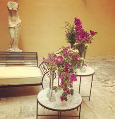 Centros de flor en patio interior