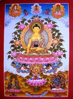 Shakyamuni buddha thangka - Traditional Painting Shakyamuni Buddha Thangka Tibetan Nepal