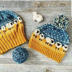 """The """"Baa-ble Hat"""" (pattern by Donna Smith). What a lovely color combo from PattyMac Knits. Fair Isle Knitting Patterns, Knitting Designs, Knit Patterns, Knitting Projects, Loom Knitting, Baby Knitting, Knit Or Crochet, Crochet Hats, Crochet Stitches"""