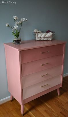 Reverse ombre mid-century mod dresser in Scandanavian Pink shades.