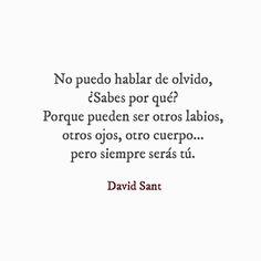 No puedo hablar de olvido, ¿Sabes por qué?Porque pueden ser otros labios, otros ojos, otro cuerpo... pero siempre serás tú.- David Sant