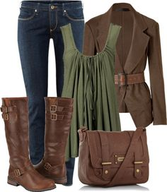 Olive shirt, brown sweater, boots & purse, jeans