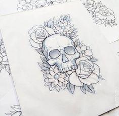 New Ideas Tattoo Designs Skull Art Ink Cute Tattoos, Flower Tattoos, Body Art Tattoos, Sleeve Tattoos, Tatoos, Floral Skull Tattoos, Skull Thigh Tattoos, Tattoo Thigh, Tattoo Sketches