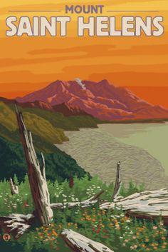 Saint Helens National Park Poster Spirit Lake - Aaron Morris