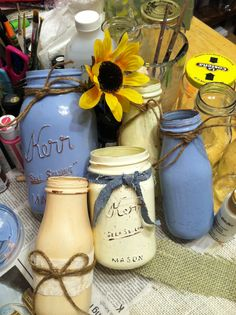 up-cycled country wedding decore cute idea to use with your colors