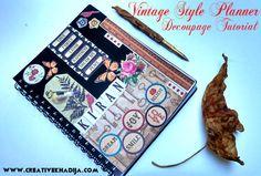Vintage Style Planner Decoupage DIY - Creative Mind Khadija http://creativekhadija.com/2014/09/design-business-planner-beautiful-vintage-style/