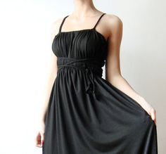 Black long Convertible dress with braided straps by WhimsyTime from WhimsyTime on Etsy. Saved to my wardrobe . Grecian Dress, Lil Black Dress, Convertible Dress, Pretty Dresses, Casual Looks, Fashion Dresses, Style Inspiration, Clothes For Women, Formal Dresses