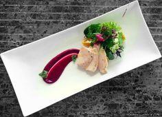 λεμονάτος κόκορας  με  κρέμα παντζαριού