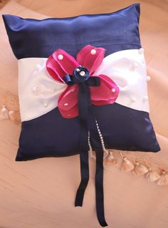 Navy blue ring bearer pillow by cookiesandcostumes on Etsy, $25.00