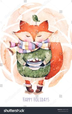 Cute little fox just like to drink hot coffee.Watercolor illustration.Fox and bird in watercolor.Perfect for cristmas and happy new year card,greeting card,blog,pattern,tea time,invaitation,baby cards