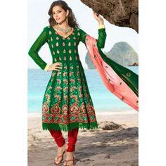 Green Net & Faux Georgette Salwar Kameez