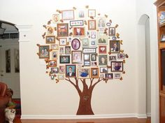 family tree-love the idea, the frames need to be the same colour to give it a sense of unity