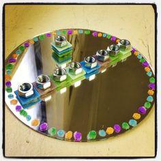 Mirror tray + glass paint + tiles + bolts = Homemade Chanukah Menorah Hanukkah Crafts, Jewish Crafts, Hanukkah Decorations, Hanukkah Menorah, Hannukah, Holiday Crafts, Holiday Fun, Holidays With Kids, Paint Tiles