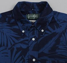 THE HILL-SIDE SHORT-SLEEVE SHIRT, SELVEDGE INDIGO DISCHARGE PRINT, TROPICAL LEAVES :: HICKOREE'S