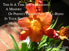 """""""This is a time for awakening a memory of perfect health and well-being in your body, mind, & spirit"""" - Cynthia Sue Larson, Aura Healing Meditations"""