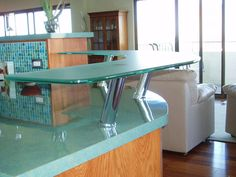 A Customer Used Our Angled Table Line Series Counter Supports For Glass  Tops To Create This