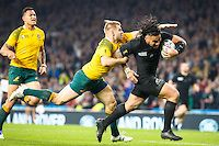 Ma'a Nonu scores a try during the Rugby World Cup Final, New Zealand All Blacks v Australia, Twickenham Stadium, London, England. Saturday 31 October 2015. Copyright Photo: Libby Law / www.Photosport.nz