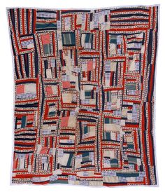 """Irene Williams - """"Housetop"""" variation quilt, """"vote"""" fabric, 1975. Irene Williams made several quilts that contain fabric printed with the word """"vote."""" Wilcox County had been the scene of fierce voting-rights struggles in the 1960s."""