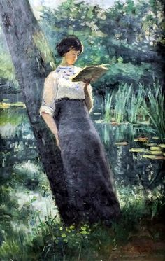 """"""" Standing woman, reading under a tree. René de Groux (Belgian, Oil on canvas. """"Good friends, good books, and a sleepy conscience. This is the ideal life."""" -Mark Twain """" """"On the. People Reading, Book People, Reading Art, Woman Reading, Reading Books, Samara, Book Art, Books To Read For Women, Illustration"""