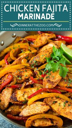 The best chicken fajitas in a zesty marinade with peppers and onions. Fajita Chicken Marinade, Chicken Fajita Rezept, Beef Fajita Recipe, Grilled Chicken Fajitas, Homemade Fajita Seasoning, Steak Fajitas, Chicken Recipes, Recipe Chicken, Pico De Gallo